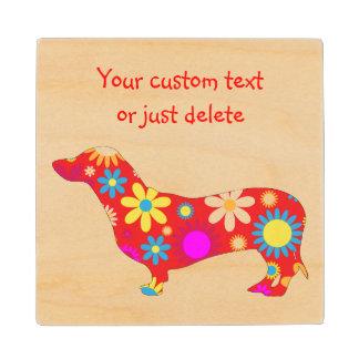 ダックスフント犬のカスタムなファンキーなレトロの花柄の花 ウッドコースター
