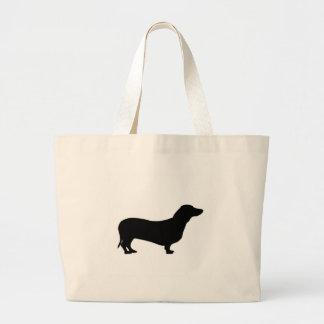 ダックスフント犬のシルエットのトートバック ラージトートバッグ