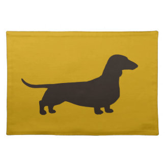 ダックスフント犬のシルエット ランチョンマット