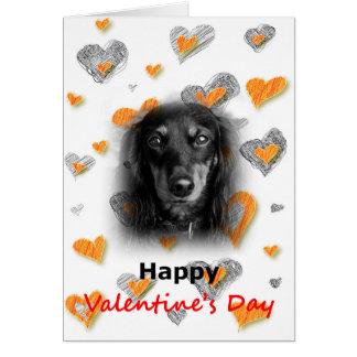 ダックスフント犬のハッピーバレンタインデーのハートカード カード