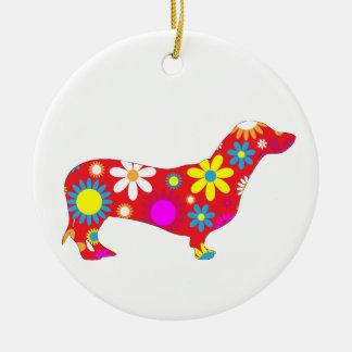 ダックスフント犬の多彩なファンキーなレトロの花柄の花 セラミックオーナメント