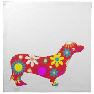 ダックスフント犬の多彩なファンキーなレトロの花柄の花 ナプキンクロス