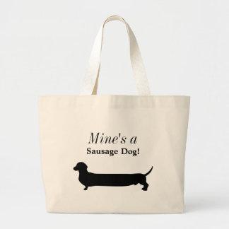 ダックスフント犬の黒のシルエットのおもしろいなカスタム ラージトートバッグ