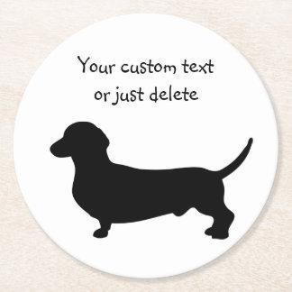 ダックスフント犬の黒のシルエットのかわいいdoxieの習慣 ラウンドペーパーコースター