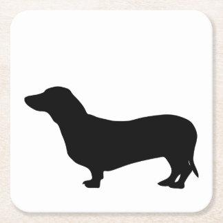 ダックスフント犬の黒のシルエットのかわいいdoxie スクエアペーパーコースター