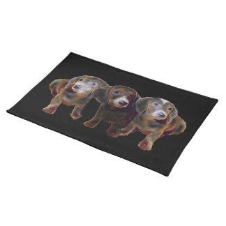 ダックスフント犬のMoJoの3ランチョンマット ランチョンマット