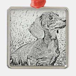 ダックスフント犬 メタルオーナメント
