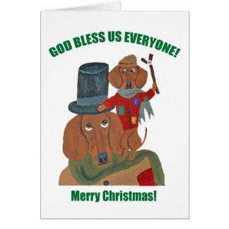 """ダックスフント""""クリスマスキャロル""""小さいティム グリーティングカード"""