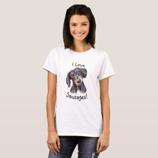 """ダックスフント""""私は愛しますソーセージを!""""  犬の芸術の絵画 Tシャツ"""