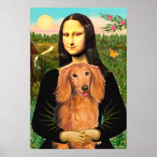 ダックスフント(長い髪のクロテン) -モナ・リザ ポスター