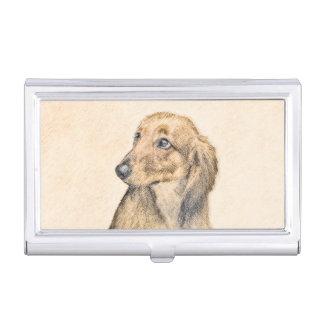 ダックスフント(長い髪の) 2絵を描く元の犬の芸術 名刺入れ