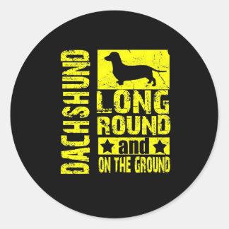 ダックスフント-長く、地上のステッカーの円形、及び ラウンドシール