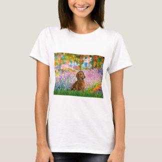 ダックスフント(brown1) -庭 tシャツ