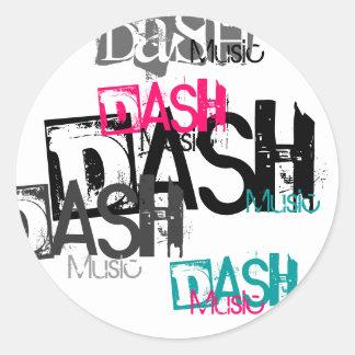 ダッシュ、ダッシュ、ダッシュ、ダッシュ、ダッシュ、音楽、音楽、Mus… 丸形シールステッカー