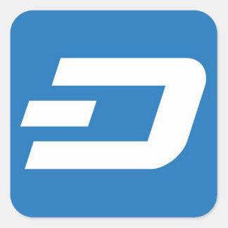 ダッシュSticket -青い背景の白 正方形シールステッカー