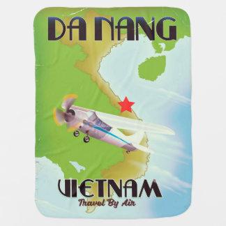 ダナンベトナムのヴィンテージ旅行ポスター ベビー ブランケット