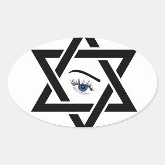 ダビデの星内の霊魂の目 楕円形シール
