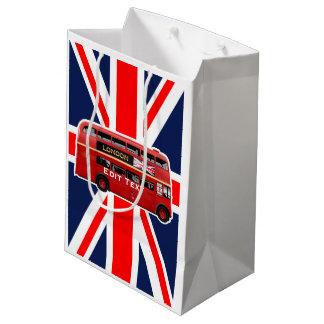ダブルデッカーのロンドン赤いバス ミディアムペーパーバッグ
