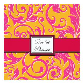 ダマスク織のオレンジ及びピンクのブライダルシャワー招待状 カード