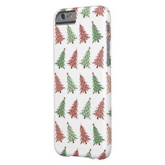 ダマスク織のクリスマスツリーのiphoneの場合の白 barely there iPhone 6 ケース