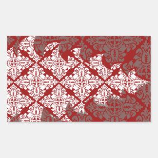 ダマスク織のクリスマスツリー 長方形シール