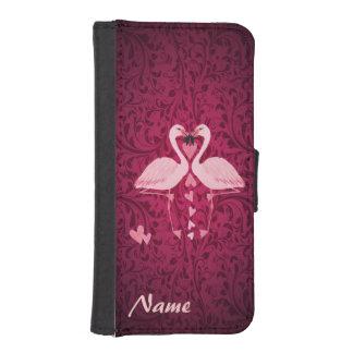 ダマスク織のシックでロマンチックなフラミンゴのモノグラム iPhoneSE/5/5sウォレットケース