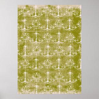 ダマスク織のシャンデリアのヴィンテージの汚くグランジなパターン ポスター