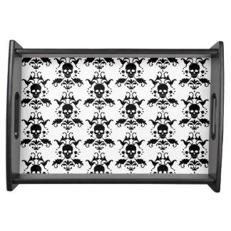 ダマスク織のスカルのハロウィンの皿 トレー