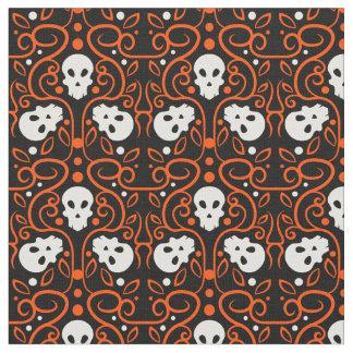 ダマスク織のスカルパターン(オレンジ) ファブリック