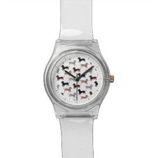 ダマスク織のダックスフントの休日パターン 腕時計