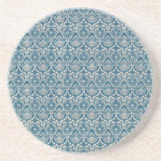 ダマスク織のティール(緑がかった色)の青パターン コースター
