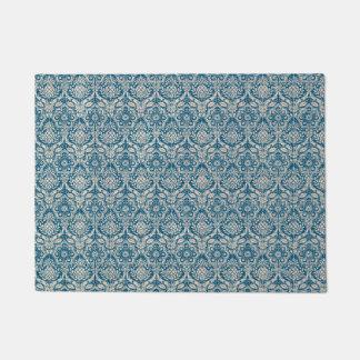 ダマスク織のティール(緑がかった色)の青パターン ドアマット