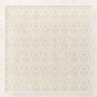 ダマスク織のバニラパターン ガラスコースター