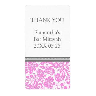 ダマスク織のバルミツワーのピンクのメッセージカード ラベル