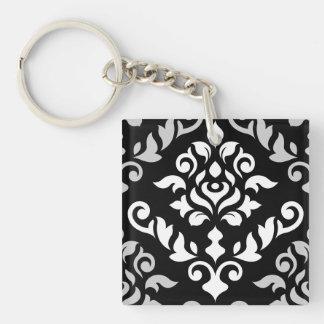 ダマスク織のバロック式のデザインの白黒 キーホルダー