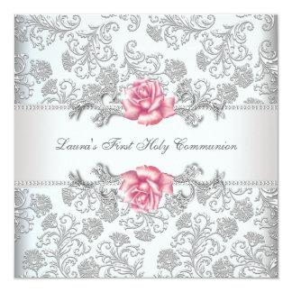 ダマスク織のピンクのバラの女の子の最初聖餐 カード