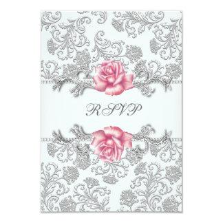 ダマスク織のピンクのバラの女の子の最初聖餐RSVP カード