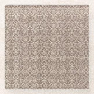 ダマスク織のブラウンパターン ガラスコースター