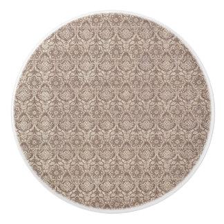 ダマスク織のブラウンパターン セラミックノブ