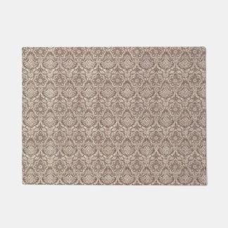 ダマスク織のブラウンパターン ドアマット