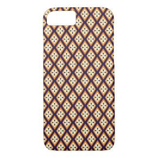ダマスク織のペーズリーのアラベスクのダイヤモンドパターン円形浮彫り iPhone 8/7ケース