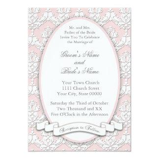 ダマスク織のリボンの招待状(ピンク) 12.7 X 17.8 インビテーションカード