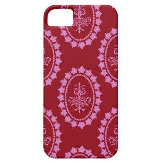 ダマスク織のヴィンテージのピンクの壁紙のシャンデリアパターン iPhone SE/5/5s ケース