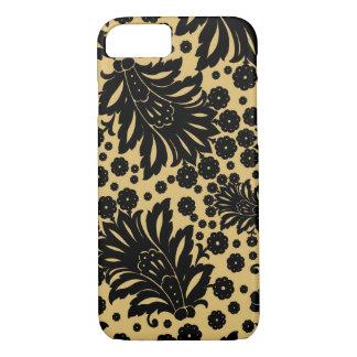 ダマスク織のヴィンテージのペーズリーの羽の花柄パターン iPhone 8/7ケース