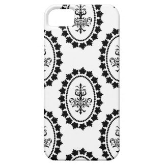 ダマスク織のヴィンテージの白い壁紙のiPhoneの場合の皮 iPhone SE/5/5s ケース