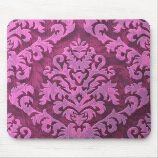 ダマスク織の切口のビロード、ローズピンクのエンボスの葉 マウスパッド