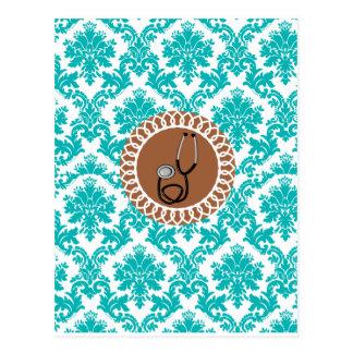 ダマスク織の医学の聴診器のデザイン ポストカード