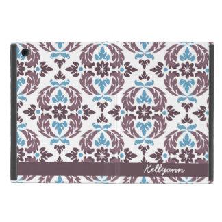 ダマスク織の名前入りな暗灰色及び青い小型iPadカバー iPad Mini ケース