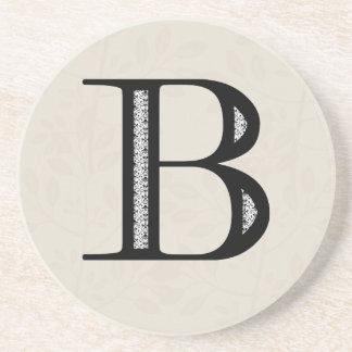 ダマスク織の手紙B -黒 コースター