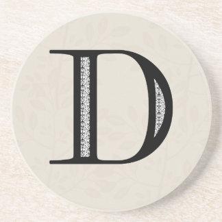 ダマスク織の手紙D -黒 コースター